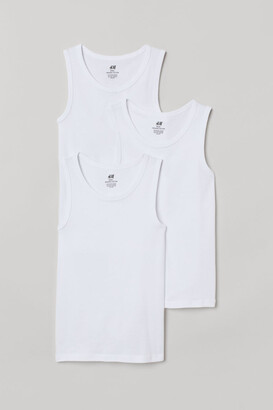 H&M 3-pack Cotton Tank Tops - White