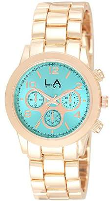 LA Time Womens Analogue Quartz Watch with Stainless Steel Gold Plated Strap LA.034L