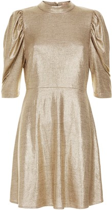Traffic People Maybe Metallic Mini Dress In Gold