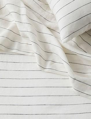 Lulu & Georgia Cultiver Linen Bedding, Pencil Stripe Flat Sheet
