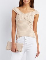 Charlotte Russe Striped Off-The-Shoulder Ribbed Top