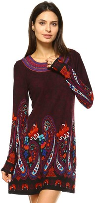 White Mark Women's Paisley Embroidered Sweaterdress