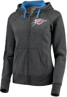 G Iii Women's G-III 4Her by Carl Banks Charcoal/Blue Oklahoma City Thunder Playoff Suede Fleece Full-Zip Jacket