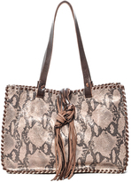 Carla Mancini Brown Metallic Snakeskin Whipstitch Leather Tote