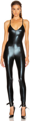 Norma Kamali Low Back Fara Slip Catsuit in Black Foil   FWRD