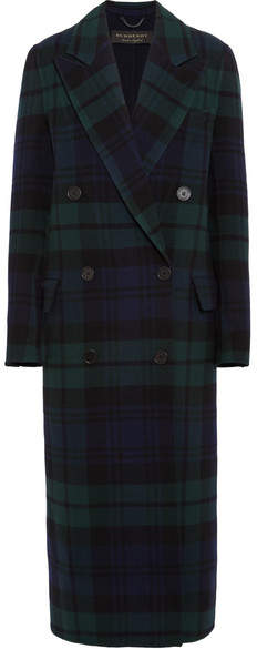 Burberry Double-breasted Tartan Wool And Cashmere-blend Coat - Navy