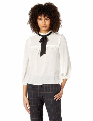 Leighton By My Michelle Junior's Womens Swiss Dot Blouse with Bow Tie Neck