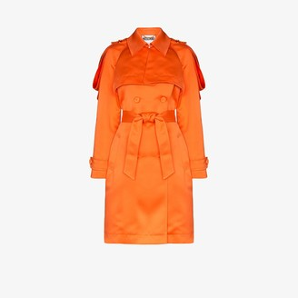Moschino Epaulette Satin Trench Coat