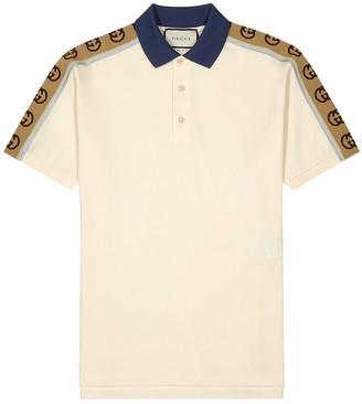 Gucci Off-white pique cotton polo shirt