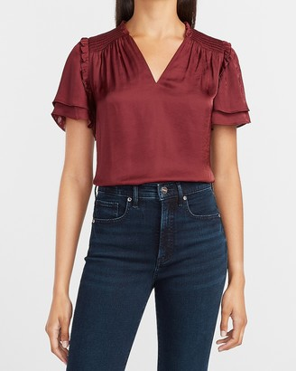Express Satin Smocked Neck Ruffle Sleeve Top