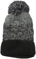 D&Y Women's Ombre Cable Knit Beanie with Pom and Cuff Bottom