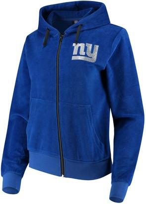 Women's Royal New York Giants Velour Suit Full-Zip Hoodie