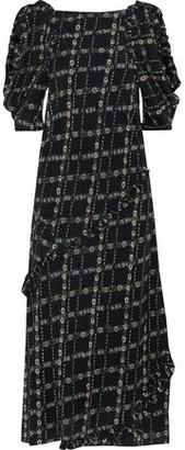 Burberry Cold-shoulder Floral-print Silk Crepe De Chine Midi Dress