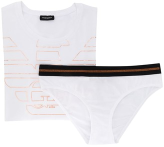 Emporio Armani Branded T-Shirt And Briefs Set