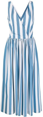 Erika Cavallini Striped V-Neck Dress