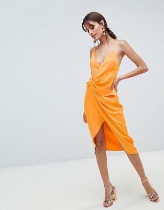 Asos Design DESIGN strappy knot side midi dress in satin-Orange