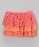 Mulberribush Orange & Pink Tiered Tulle Skirt - Infant Toddler & Girls