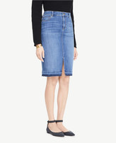 Ann Taylor Slit Denim Pencil Skirt