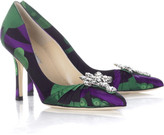 Satin brocade pumps