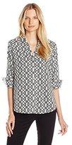Foxcroft Women's Three-Quarter Sleeve Diamond Geo-Print Shirt