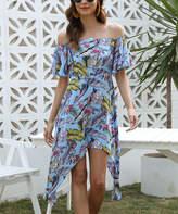 Belle De Jour Belle de Jour Women's Casual Dresses Multicolor - Blue Floral Ruffle-Sleeve Sidetail Off-Shoulder Dress - Women