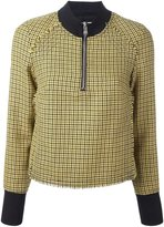 3.1 Phillip Lim high collar houndstooth top