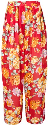 Kenzo Pre Owned Floral Wide-Legged Trousers