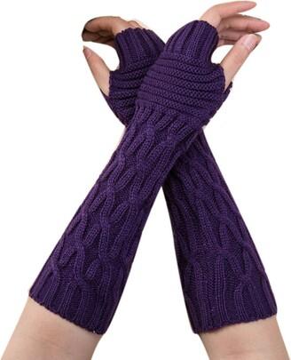 Huyuri Women Winter Wrist Arm Warmer Knitted Long Fingerless Gloves Mitten