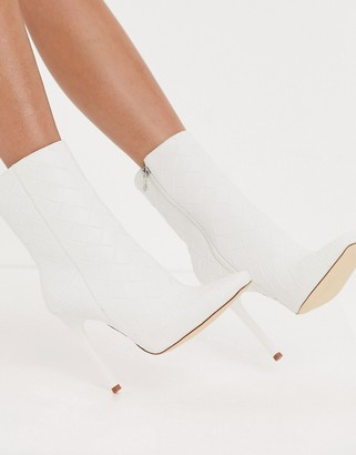 Simmi Shoes Simmi London Melina woven heeled ankle boots in white