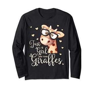 Cute Just A Girl Who Loves Giraffes Kids Animal Lover Gift Long Sleeve T-Shirt