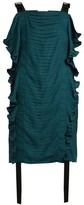 Marco De Vincenzo Ruched Ruffle-trimmed Satin Top - Womens - Black Green