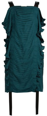 Marco De Vincenzo Ruched Ruffle-trimmed Satin Top - Black Green