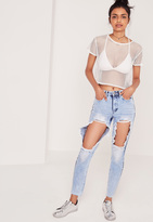 Missguided High Rise Open Thigh Rip Mom Jean Blue