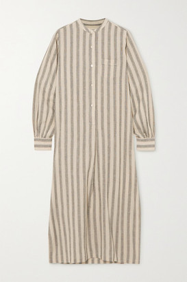 Nili Lotan Malia Striped Cotton And Linen-blend Midi Shirt Dress - Cream