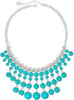 Liz Claiborne Aqua Stone Silver-Tone Statement Necklace