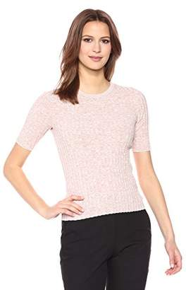 Theory Women's Short Sleeve Marl Rib Crewneck Sweater