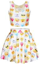 Jiayiqi Fun Emoji Glasses Face Diamonds Digital Printed O-neck Crop Top and Pleated Skirt