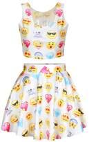Jiayiqi Girls New Fashion Cute Facial Emoticon Scoop Neck Top and Mini Gonna Skirt