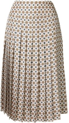 Tory Burch Pleated Monogram Print Silk Skirt
