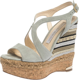 Paloma Barceló Light Grey Suede Mafafa Wedge Platform Sandals Size 36.5