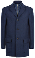 Jaeger Mock Gilet Overcoat, Blue