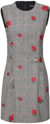 Versace Prince Of Wales Mini Dress W/Roses