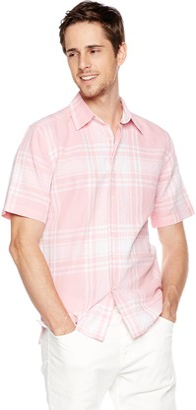 Isle Bay Linens Men's Short Sleeve Plaid Slim Woven Hawaiian Shirt L Pink