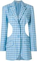 Nina Ricci ruffle trim gingham-print blazer
