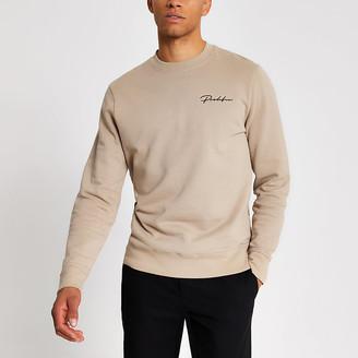River Island Prolific stone slim fit sweatshirt
