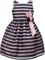 Jayne Copeland Navy & Pink Stripe Floral-Accent A-Line Dress - Toddler & Girls