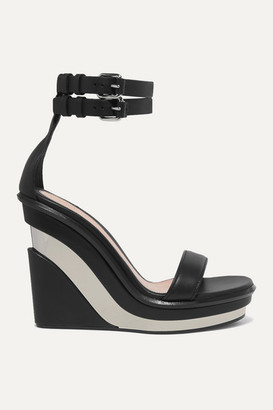 Alexander McQueen Buckled Leather Wedge Sandals - Black