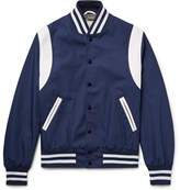 GoldenBear Golden Bear - Leather-panelled Poplin Bomber Jacket - Navy