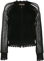 Twin-Set Twin Set mesh knit crochet bomber jacket