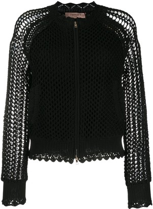 Twin-Set Mesh Knit Crochet Bomber Jacket